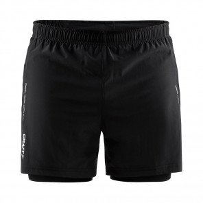 CRAFT SHORT RUNNING ESSENTIAL 2-EN-1 HOMME | NOIR | Collection Printemps-Été 2019