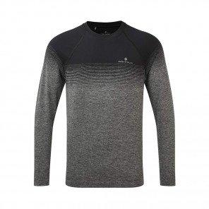 RONHILL Tee-shirt manches longues Infinity Marathon Homme| Black Grey marl